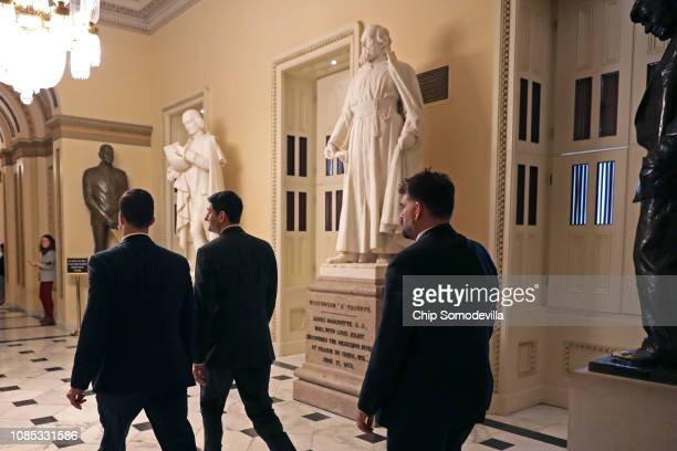 Speaker of the House Paul Ryan heads to the floor for votes at the US Capitol December 21 2018 in Washington DC The US Senate will meet Friday to...