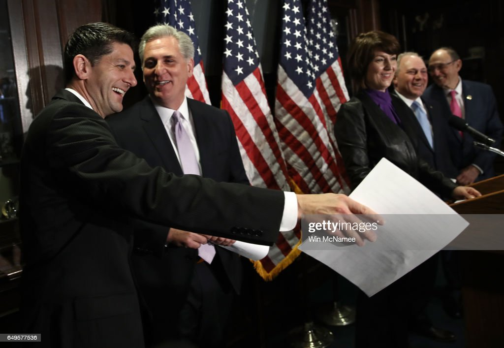 U.S. Speaker of the House Paul Ryan (R-WI) (L) jokes with House Majority Leader Kevin McCarthy during a press conference following a meeting of the House Republican caucus March 8, 2017 in Washington, DC. Ryan answered questions on the newly released American Healthcare Act, the proposed Republican replacement for the Affordable Care Act.