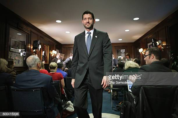 Speaker of the House Paul Ryan leaves a news briefing with members of the House GOP leadership following the weekly Republican Conference meeting at...