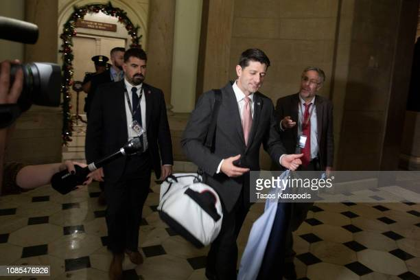 Speaker of the House Paul Ryan leaves his office on Capitol Hill on December 21 2018 in Washington DC The US Senate is considering a budget bill...