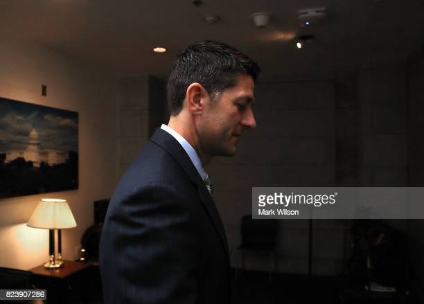 Speaker of the House Paul Ryan leaves the House GOP weekly conference at the US Capitol on July 28 2017 in Washington DC Three Senate Republicans...