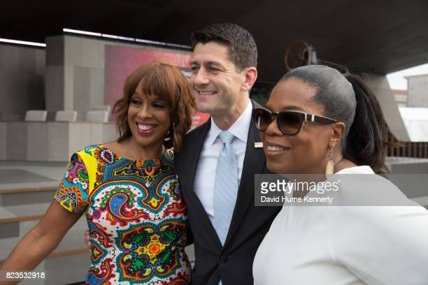 Speaker of the House Paul Ryan poses with Gayle King and Oprah Winfrey at the opening of the National Museum of African American History and Culture...