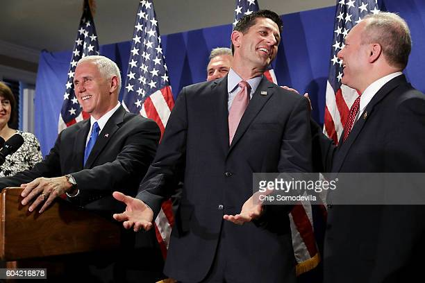 Speaker of the House Paul Ryan reacts to being asked about his previous reluctance to support Donald Trump during a news conference with US...