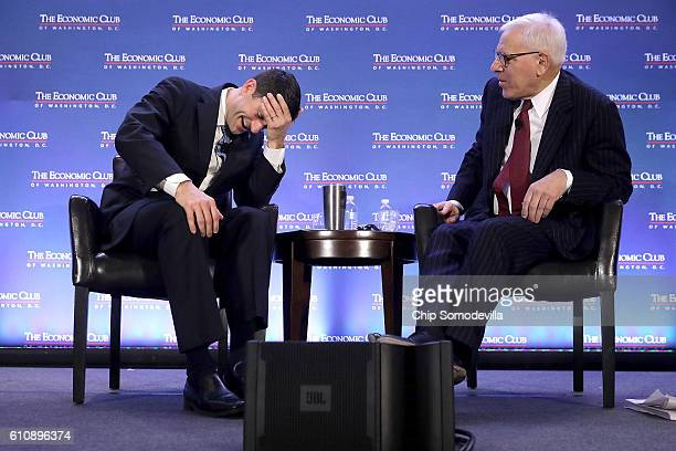 Speaker of the House Paul Ryan reacts while being interviewed by The Carlyle Group coCEO and Economic Club of Washington President David Rubenstein...