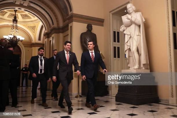 Speaker of the House Paul Ryan returns to his office after votes in the US Capitol December 21 2018 in Washington DC The US Senate will meet Friday...