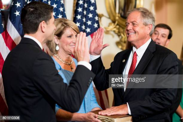 Speaker of the House Paul Ryan RWisc conducts a ceremonial swearing in of Rep Ralph Norman RSC in the Capitol on Monday June 26 2017