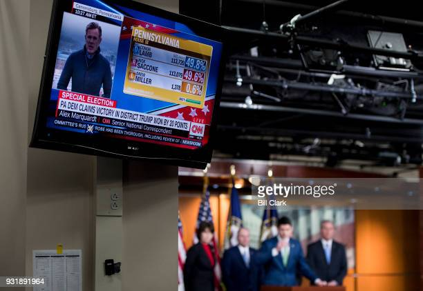 Speaker of the House Paul Ryan, R-Wisc., holds a press conference with House GOP leadership in the Capitol on Wednesday, March 14 as a television...