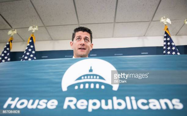 Speaker of the House Paul Ryan RWisc speaks to reporters following the House Republican Conference meeting in the Capitol on Tuesday Oct 3 2017
