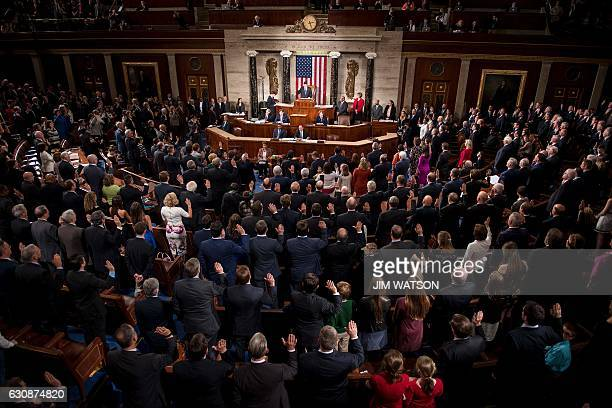 Speaker of the House Paul Ryan RWisconsin swears in the newly elected members of the House of Representatives during the opening of the 115th US...