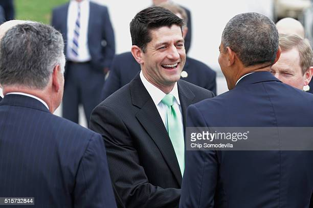 Speaker of the House Paul Ryan says goodbye to US President Barack Obama and Irish Prime Minister or Taoiseach Edna Kenny as they leave the US...