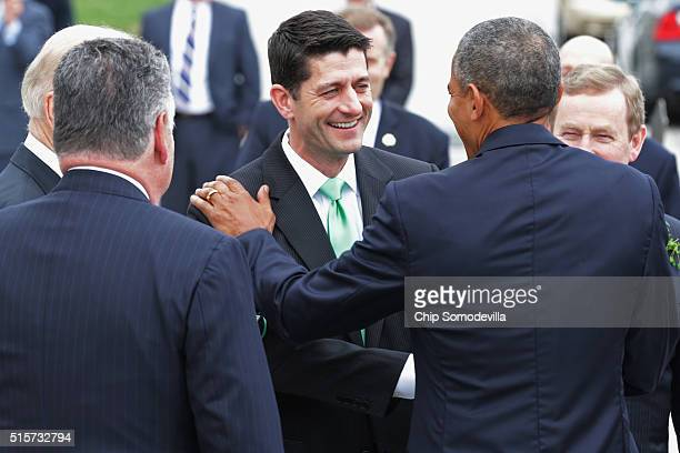 Speaker of the House Paul Ryan says goodbye to Vice President Joe Biden Rep Peter King US President Barack Obama and Irish Prime Minister or...