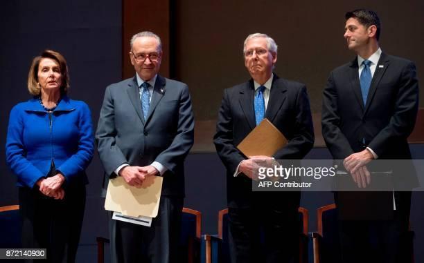 US Speaker of the House Paul Ryan Senate Majority Leader Mitch McConnell US Senate Minority Leader Chuck Schumer and House Democratic Leader Nancy...