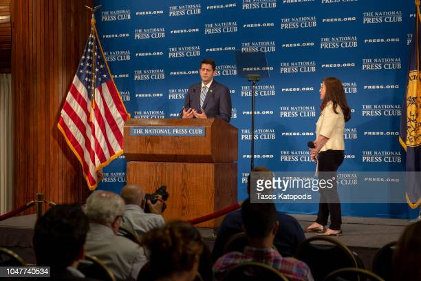 Speaker of the House Paul Ryan speaks at the National Press Club Newsmaker event on October 8 2018 in Washington DC Ryan delivered remarks on 'how...