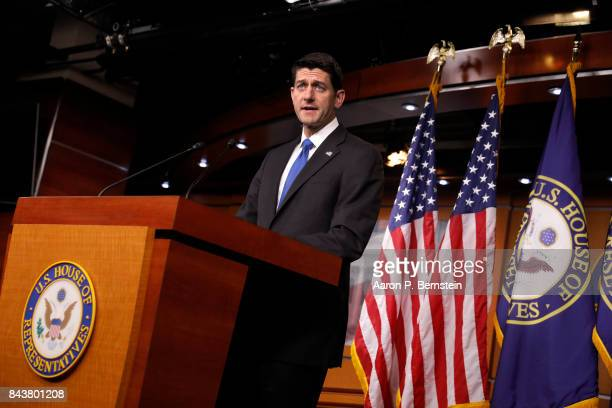 Speaker of the House Paul Ryan speaks during a press conference at the US Capitol September 7 2017 in Washington DC Ryan and fellow Republicans were...