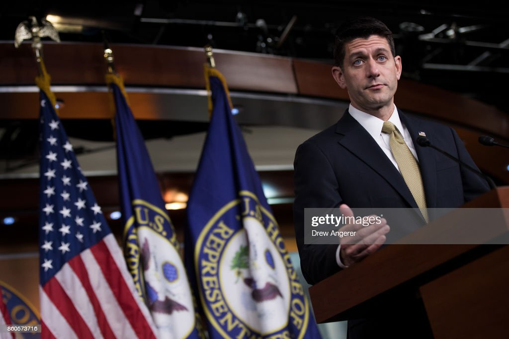 Speaker of the House Paul Ryan (R-WI) speaks during his weekly news conference on Capitol Hill, October 12, 2017 in Washington, DC. On Friday, Speaker Ryan will lead a bipartisan Congressional delegation on a trip to Puerto Rico to meet with local officials and emergency responders following the devastation from Hurricane Maria.