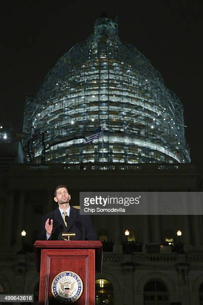 Speaker of the House Paul Ryan speaks during the Capitol Christmas tree lighting ceremony on the West Front of the US Capitol December 2 2015 in...