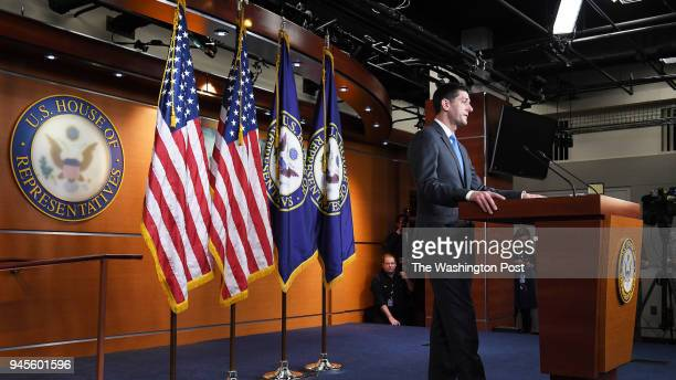 Speaker of the House Paul Ryan speaks to reporters about not seeking reelection at the United States Capitol on Wednesday April 11 2018 in Washington...