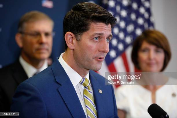 Speaker of the House Paul Ryan speaks with reporters during a news conference following a House Republican conference meeting July 11 2018 on Capitol...