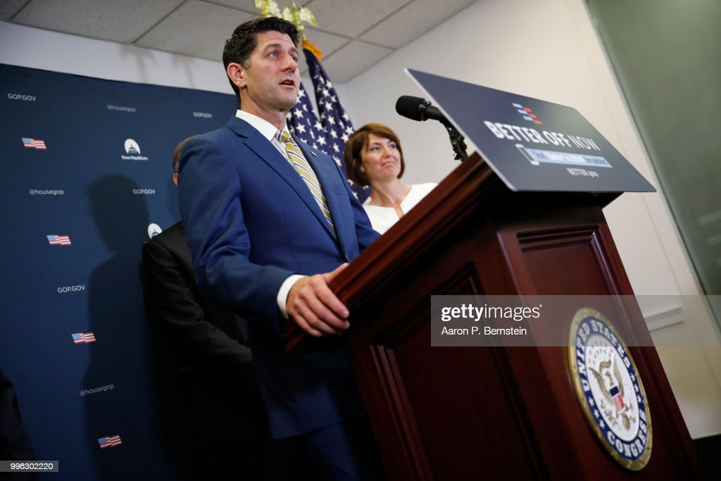 Speaker of the House Paul Ryan speaks with reporters during a news conference following a House Republican conference meeting July 11, 2018 on Capitol Hill in Washington, DC. House Republicans are promoting the results of their recent tax bill.