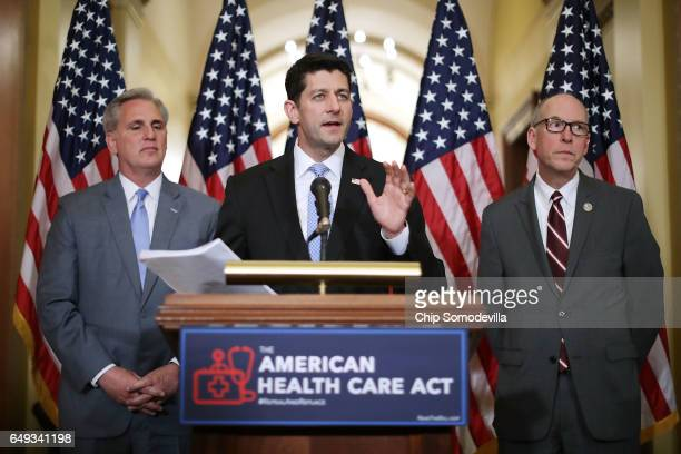 Speaker of the House Paul Ryan takes questions from reporters about the American Health Care Act during a news conference with House Majority Leader...
