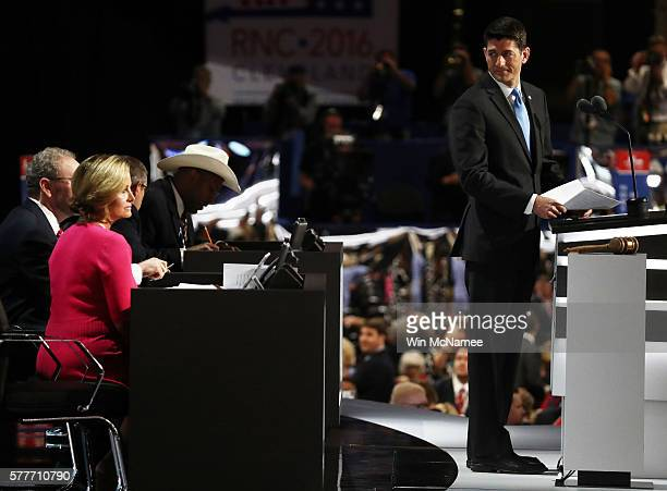 Speaker of the House Paul Ryan talks on stage after roll call on the second day of the Republican National Convention on July 19 2016 at the Quicken...