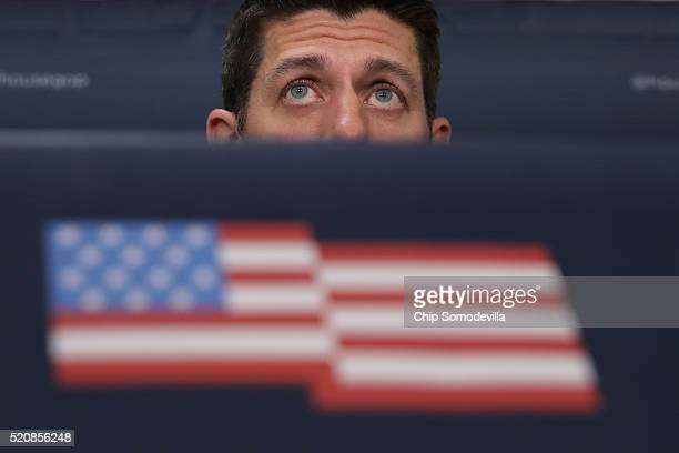 S Speaker of the House Paul Ryan talks to reporters following the weekly House Republican conference at the US Capitol April 13 2016 in Washington DC...