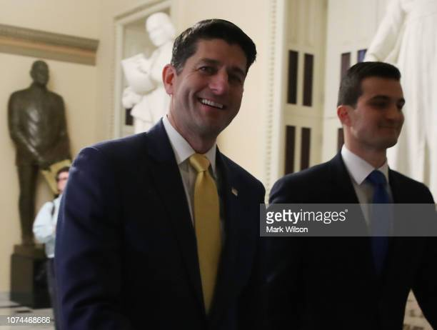 Speaker of the House Paul Ryan walks from the floor of the House of Representatives at the US Capitol on December 20 2018 in Washington DC...