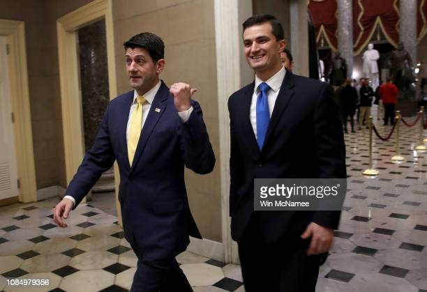 Speaker of the House Paul Ryan walks from the floor of the House of Representatives following a vote at the US Capitol on December 20 2018 in...