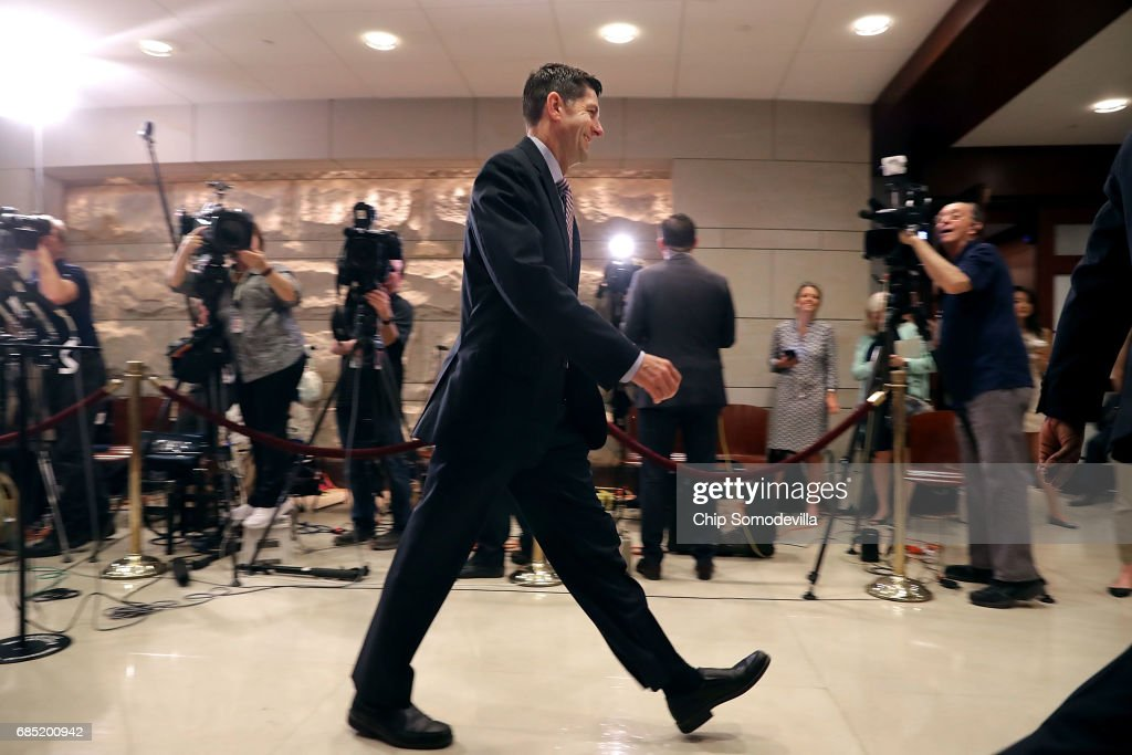 Speaker of the House Paul Ryan (R-WI) walks past a bank of television cameras on his way to a meeting with Deputy U.S. Attorney General Rod Rosenstein and all the members of the House of Representatives at the U.S. Capitol May 19, 2017 in Washington, DC. Rosenstein met with senators a day earlier and was questioned about his role in the firing of former FBI Director James Comey and his appointment of former FBI Director Robert Mueller as a special counsel to investigate Russian meddling in the 2106 presidential election.