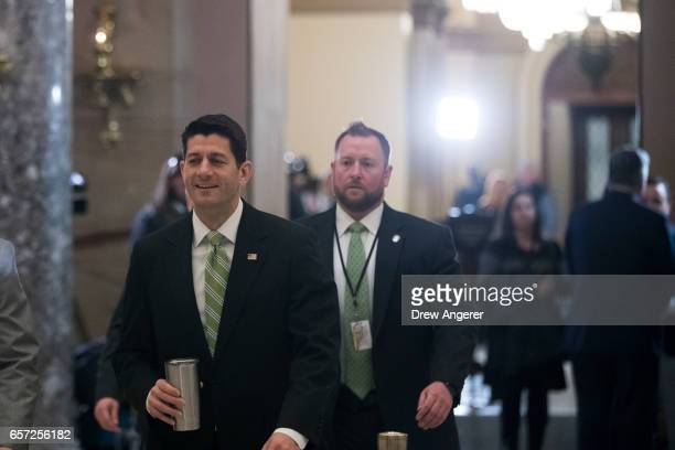 Speaker of the House Paul Ryan walks to his office after gaveling the House into session, on Capitol Hill, March 24, 2017 in Washington. House...