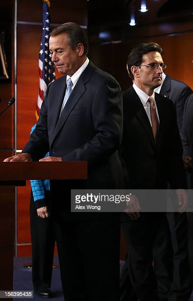 S Speaker of the House Rep John Boehner and House Majority Leader Rep Eric Cantor arrive at a news conference to introduce the new House Republican...