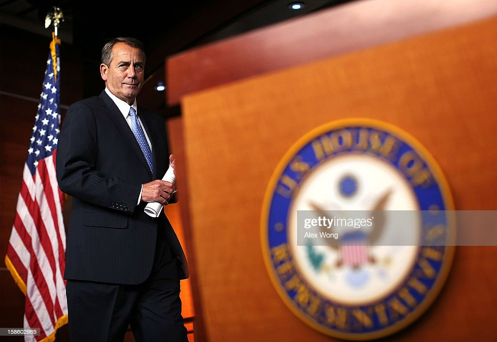 U.S. Speaker of the House Rep. John Boehner (R-OH) arrives at his weekly news conference December 20, 2012 on Capitol Hill in Washington, DC. Speaker Boehner spoke on the latest development of the fiscal cliff issue and the 'Plan B' that the House will vote on this evening.