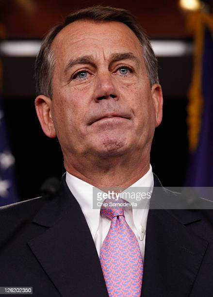 S Speaker of the House Rep John Boehner holds a news conference about the budget continuing resolution passed by the House near midnight at the US...
