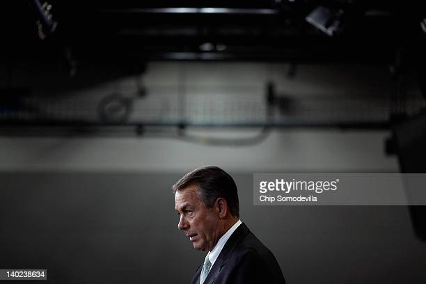 Speaker of the House Rep John Boehner holds his weekly news briefing with reporters at the US Capitol March 1 2012 in Washington DC Boehner and...