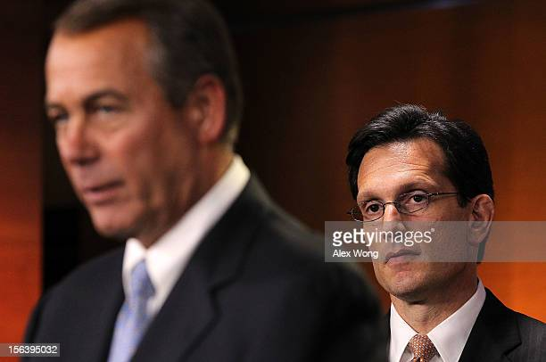 S Speaker of the House Rep John Boehner speaks as House Majority Leader Rep Eric Cantor looks on during a news conference November 14 2012 on Capitol...