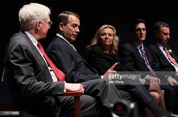 S Speaker of the House Rep John Boehner speaks as President and CEO of Ewing Marion Kauffman Foundation Carl Schramm President and CEO of Permac...