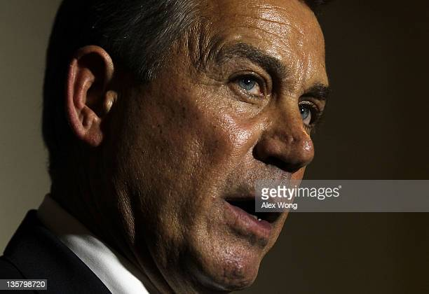 S Speaker of the House Rep John Boehner speaks during a media availability after a Republican Conference Meeting December 14 2011 on Capitol Hill in...