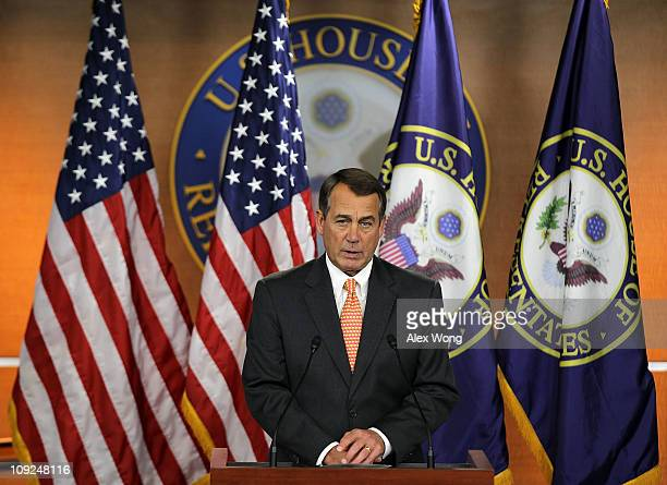 S Speaker of the House Rep John Boehner speaks during his weekly news briefing February 17 2011 on Capitol Hill in Washington DC Boehner spoke on the...