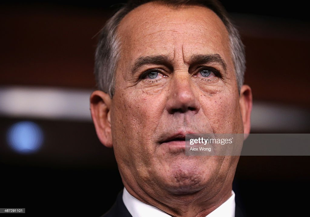 John Boehner Holds Media Briefing At The Capitol : News Photo