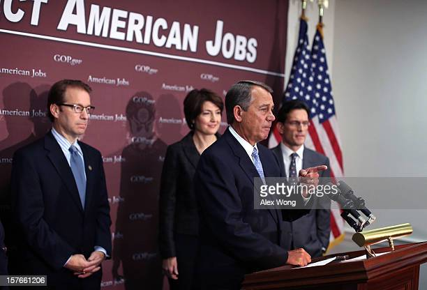 S Speaker of the House Rep John Boehner takes questions as Rep Peter Roskam House Majority Leader Rep Eric Cantor and Rep Cathy McMorris Rodgers look...