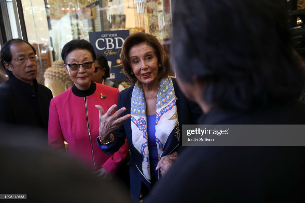 Speaker Nancy Pelosi Meets With Local Business Owners In San Francisco's Chinatown : News Photo