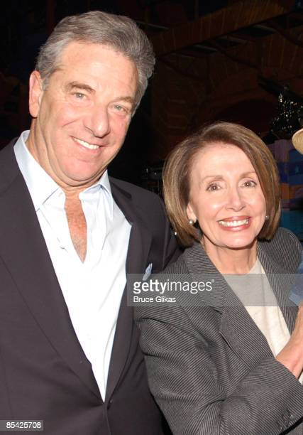 US Speaker of the House Rep Nancy Pelosi and her husband Paul Pelosi pose in the backstage of HAIR the musical at The Al Hirshfeld Theater on...