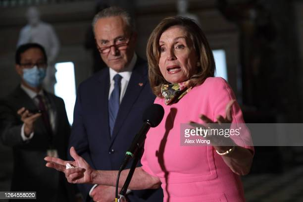 Speaker of the House Rep. Nancy Pelosi and Senate Minority Leader Sen. Chuck Schumer speak to members of the press after a meeting with Treasury...