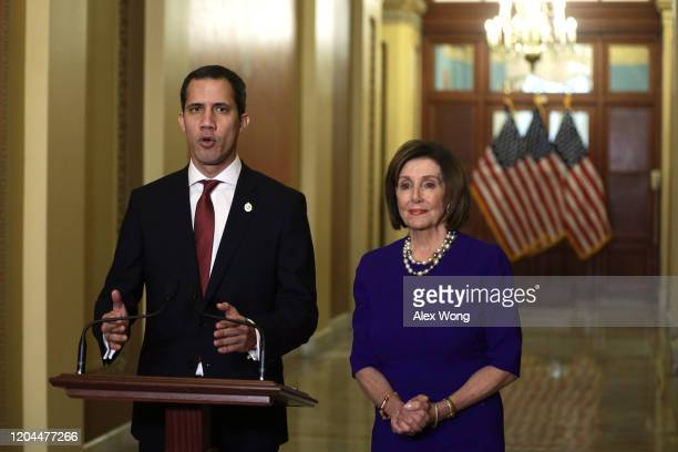 Speaker of the House Rep. Nancy Pelosi and Venezuelan opposition leader Juan Guaido speak to members of the media prior to their meeting at the U.S....
