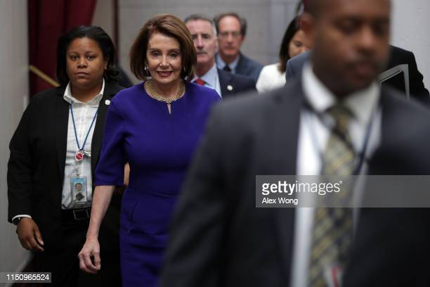 S Speaker of the House Rep Nancy Pelosi arrives at a House Democrats meeting at the Capitol May 22 2019 in Washington DC Speaker Pelosi held the...