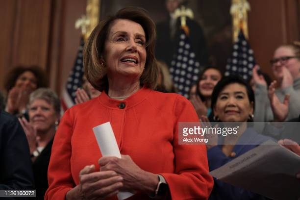 S Speaker of the House Rep Nancy Pelosi arrives at a news conference at the US Capitol January 30 2019 in Washington DC House Democrats held a news...