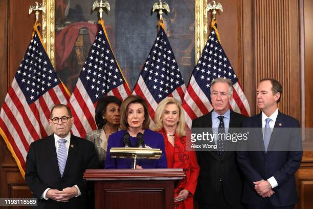 Speaker of the House Rep Nancy Pelosi speaks as Chairman of House Judiciary Committee Rep Jerry Nadler Chairwoman of House Financial Services...