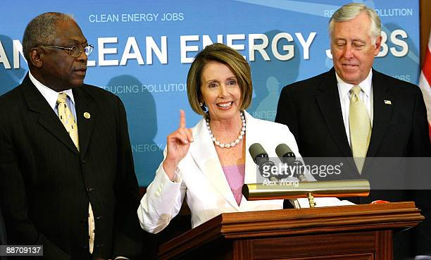 S Speaker of the House Rep Nancy Pelosi speaks as House Democratic Leader Rep Steny Hoyer and House Democratic Whip Rep James Clyburn listen during a...