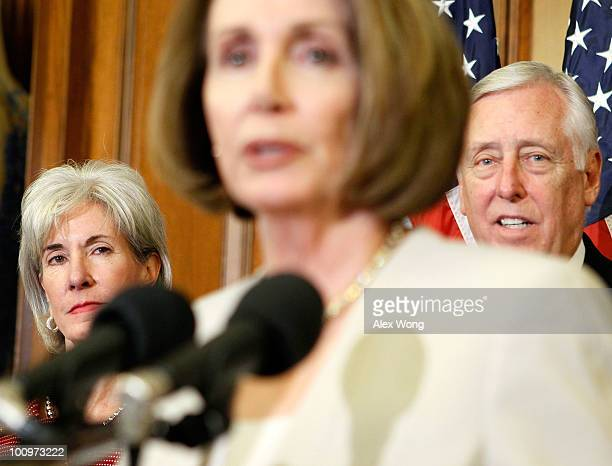 S Speaker of the House Rep Nancy Pelosi speaks as House Majority Leader Rep Steny Hoyer and Secretary of Health and Human Services Kathleen Sebelius...