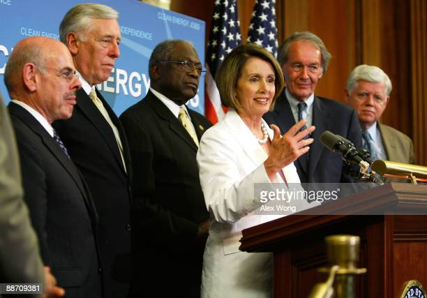 S Speaker of the House Rep Nancy Pelosi speaks as Rep Henry Waxman House Democratic Leader Rep Steny Hoyer House Democratic Whip Rep James Clyburn...